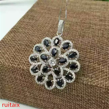 KJJEAXCMY boutique jewels S925 silver inlay natural sapphire inlay helix pendant + necklace pendant gifts