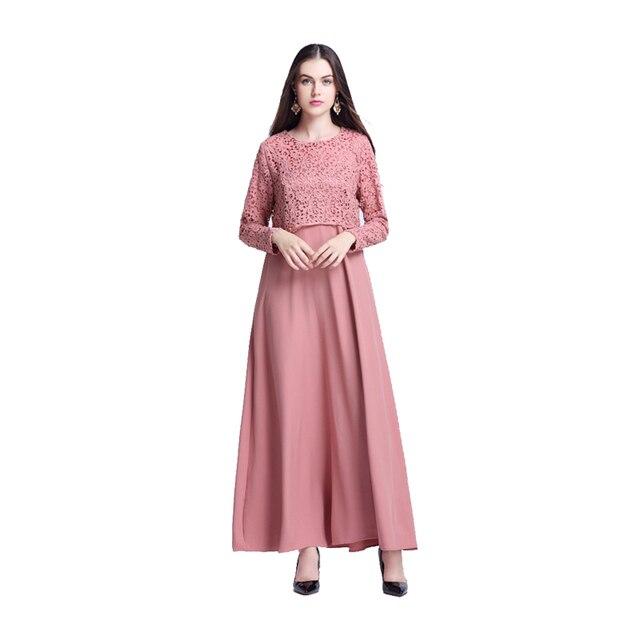 Поддельные из двух частей набор Аравии Мусульманских Женщин Абая Платье Моды Кружева длинные платья 2017 турецкая исламская одеяние одежда свадебные платья longos