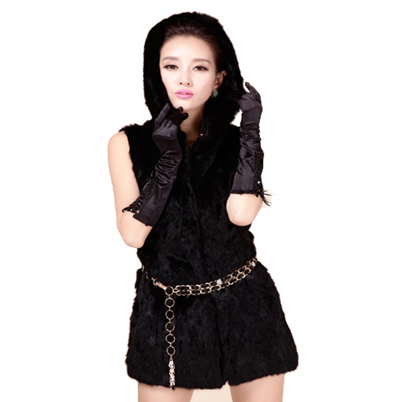 CDV119 2015 New Arrival Women Rabbit Fur Vest With Hood Genuine Fur Female Cheap Long fur