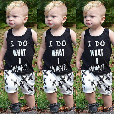 Newborn Baby Kids Boys Tops Cool Letter Printing I do what I want Sleeveless T-shirt Vest Short pants 2pcs Outfits Set Clothes прогулочные коляски cool baby kdd 6699gb t