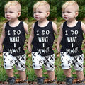 Newborn Baby Kids Boys Tops Cool Letter Printing I do what I want Sleeveless T-shirt Vest Short pants 2pcs Outfits Set Clothes