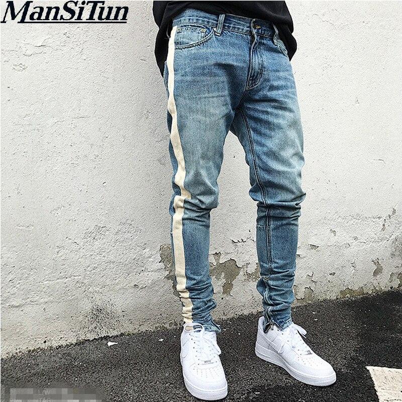 Alla moda di Nuovo Disegno Kanye Uomini di Marca Skinny Jeans Hip Hop Blu/Nero di Qualità Pantaloni Bianco Della Banda Della Decorazione Contratto Pantaloni