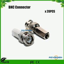 цена на CCTV Security System Use Twist-on BNC Connector Male RG59 for CCTV cameras 20pcs/lot
