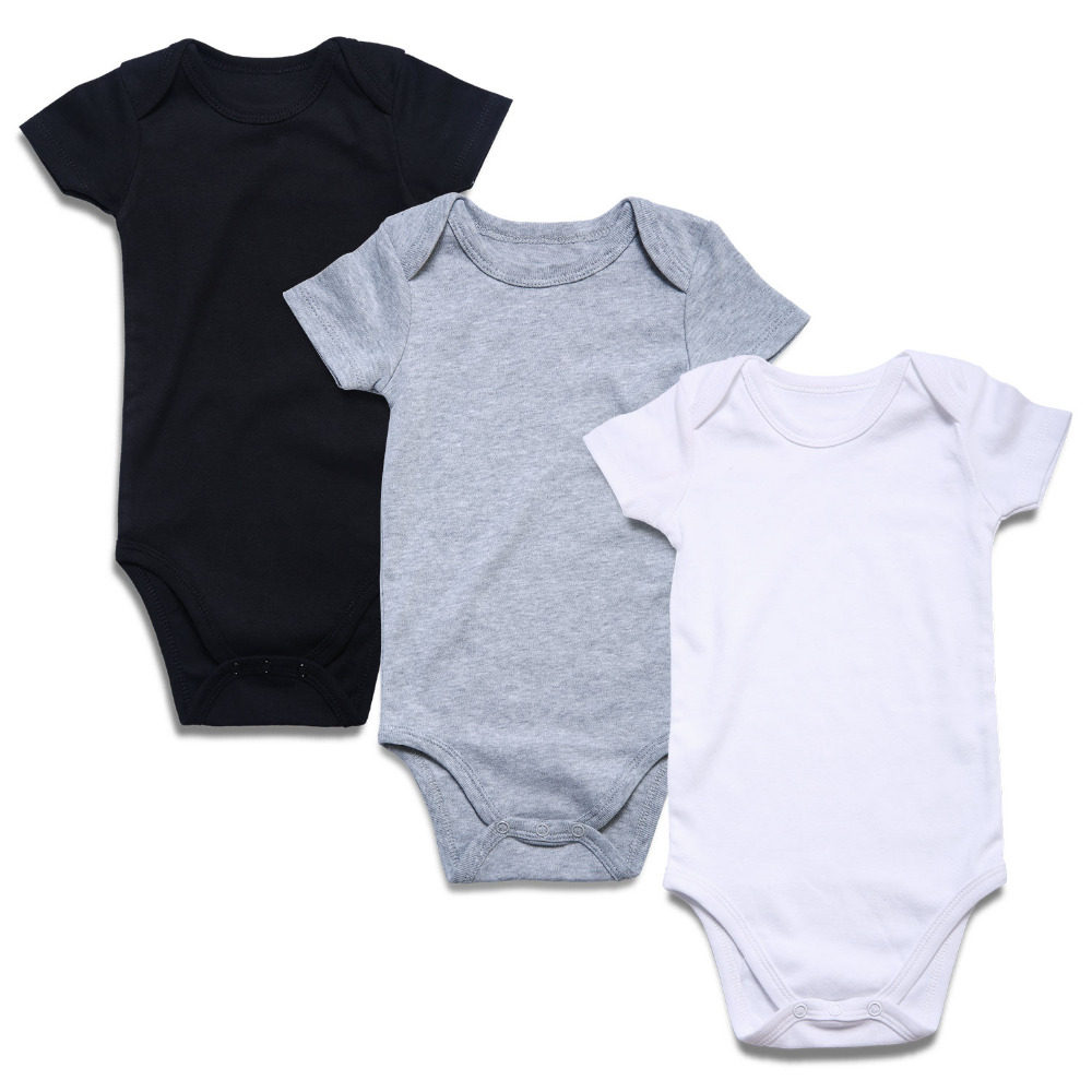 3PCS Newborn Baby Unisex Baby Body Suit Solid Black White Gray Short Sleeve Overall Infant Rompers Cotton Baby Clothing Striped