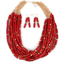 red rice bead jewelry stes layered necklace and earrings set women jwelry de joyas