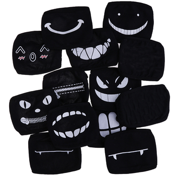 1PCS Black Kawaii Cotton Dustproof Mouth Face Mask Anime Cartoon Kpop Lucky Bear Women Men Muffle Face Mouth Masks