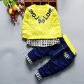 2017 resorte de La Nueva manga Larga y pantalones de 2 unidades Para Niños trajes niños Muchachos Fijados ropa de Los Niños del Algodón productos