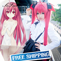Sofeel synthetic wigs DATE A LIVE Itsuka Kotori Twintail Ahoge 100cm long straight red wig pelucas sinteticas hair wigs