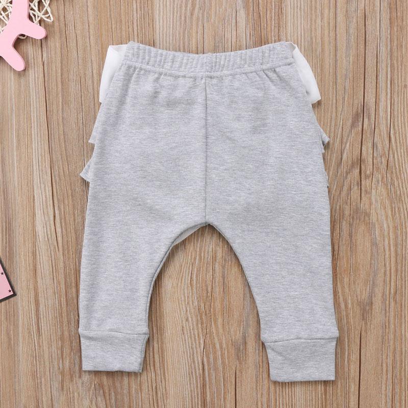 Infant Baby Girl Layered Ruffle Pants Toddler Kid Long Pants Bowknot Casual Bottoms Clothing 13