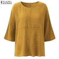 ZANZEA Womens Fashion Crew Neck 3 4 Sleeve Cotton Linen Baggy Blouse 2017 Autumn Casual Loose