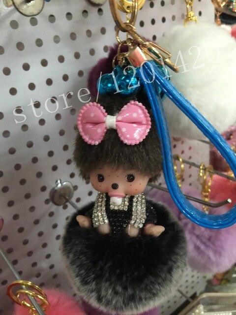 С бантом Monchichi помпон сумка шарм тегов кристалл куклы автомобиль симпатичные девушка сумки очарование сумка ошибка сладкие женщины кожа строка