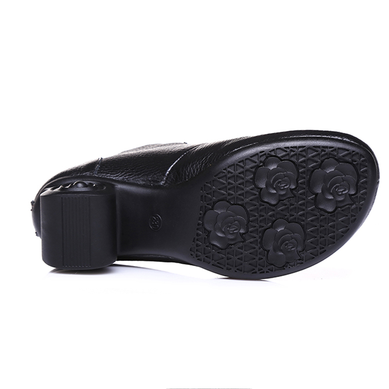 À Floral Brodé rouge Talons Beauté Haute gris Femmes Chaud En Noir Cheville Bottes Chaussures La Mvvjke Printemps Zapatos Cuir Véritable Rétro Main j3A54RqcL