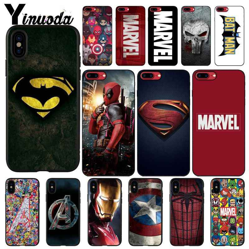Yinuoda Deadpool Iron Man Marvel Avengers Logo DIY Painted Phone Case for iPhone 8 7 6 6S Plus X XS MAX 5 5S SE XR 10 Cases