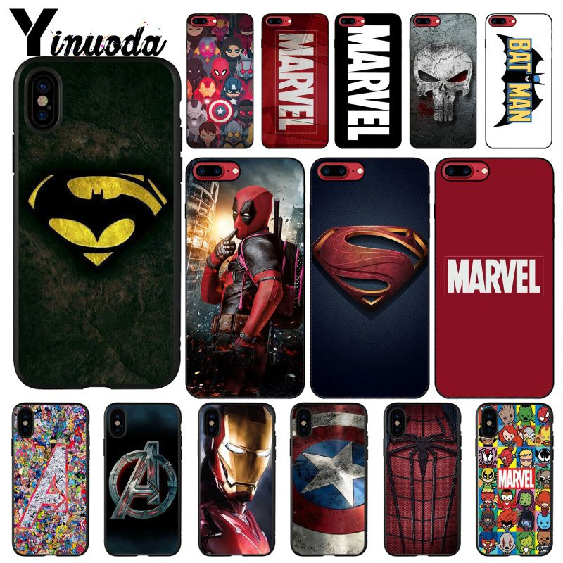 Yinuoda Deadpool Iron Man <font><b>Marvel</b></font> Avengers Logo DIY <font><b>Phone</b></font> <font><b>Case</b></font> For iphone 11 Pro Max 8 7 6 6S Plus X XS MAX 5 5S SE XR image