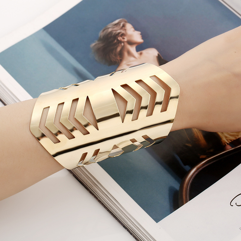 LZHLQ Fashion Hollow Metal Bracelets 2019 Trendy Women Maxi Punk Geometric Bracelet Opening Adjustable Smooth Wide Cuff Bangles