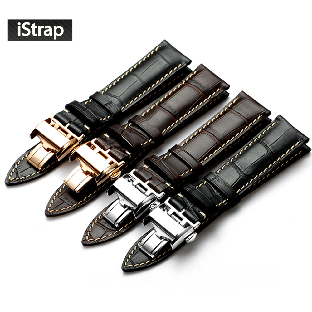 iStrap 18mm 19mm 20mm 21mm Black Dark brown Genuine Leather Watchband Replacement Watch Strap Deployment Buckle Fit For LONGINES купить недорого в Москве