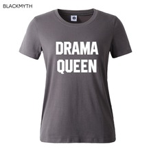 DRAMA QUEEN Letters Printed Short sleeve Casual Loose Black White Hipster Women T shirt Tops