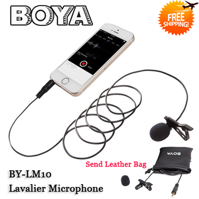 BOYA BY LM10 Clip on Lavalier Microphone Omnidirectional for iPhone 6 6plus 5 4S 4 for