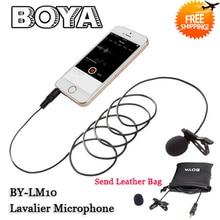 Boya by-lm10 clip-on micrófono de solapa omnidireccional para iphone 6 6 plus 5 4s 4, para sumsang galaxy s6 lg g3 htc one