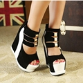 Sandalias de plataforma cuña para mujer, zapatos cuña al tobillo con tacón alto, zapatillas de verano para dama, zapatos femeninos con taco alto en números grandes 34-42