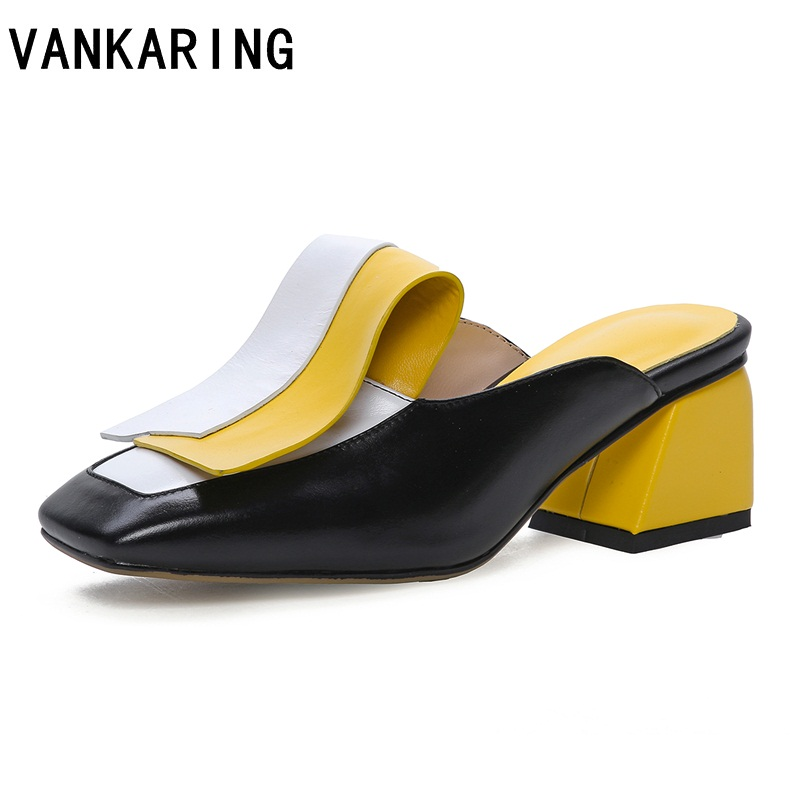 mixed color leather women party dress shoes sexy high heels pumps women fashion bow tie black shoes mules ladies sandals women