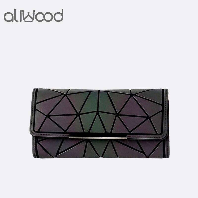 Aliwood 2018 caliente marca Bao monedero mujeres embrague señoras tarjetas moda geométrica bolsos femeninos Noctilucent luminoso monedero largo
