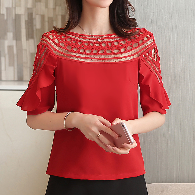 Korean Fashion Blusas 2017 New Summer Women Short-Sleeved Chiffon Blouses Women's Hollow Out Tops Clothing White/Black/Red
