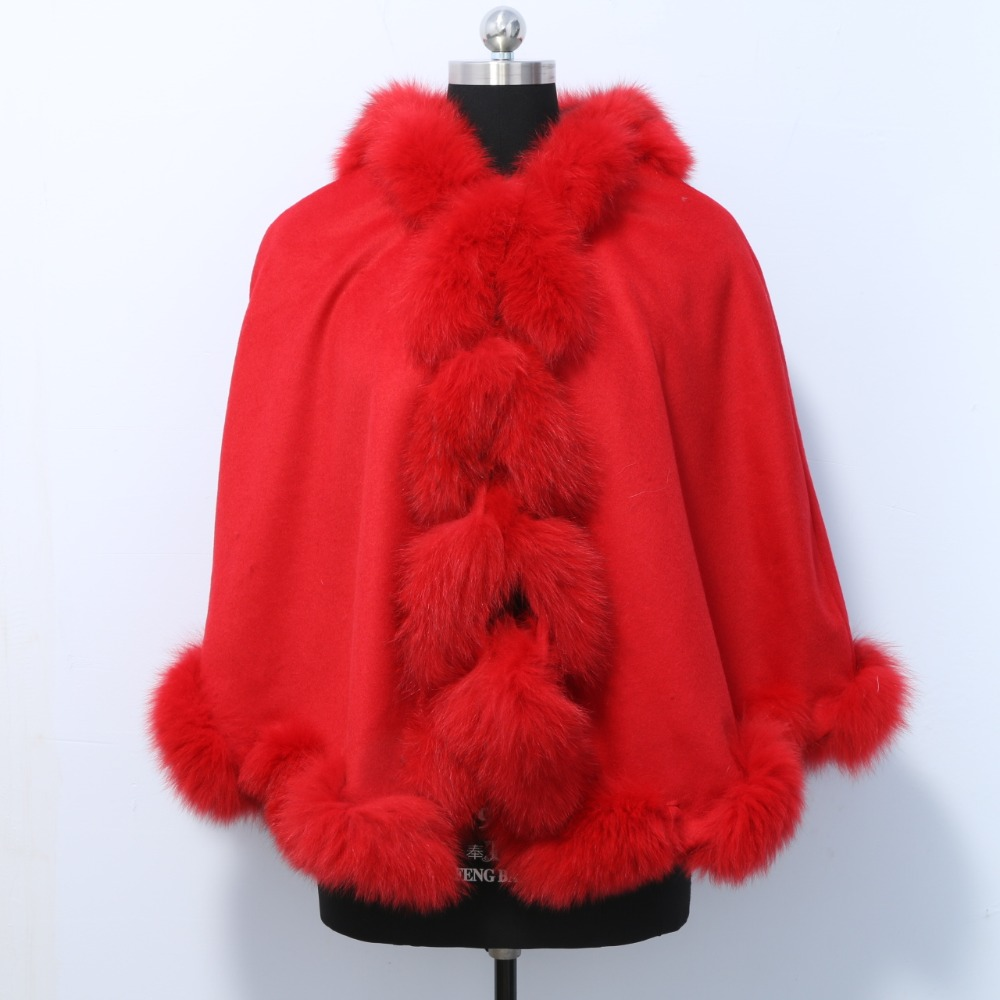 Free Shipping Cashmere shawl with Natural fox fur autumn winter ladies knit long style evening fur Cashmere cape fashionable real genuine women knit rabbit fur poncho cape wrap shawl with raccoon fur collar stole femail winter style pashmina
