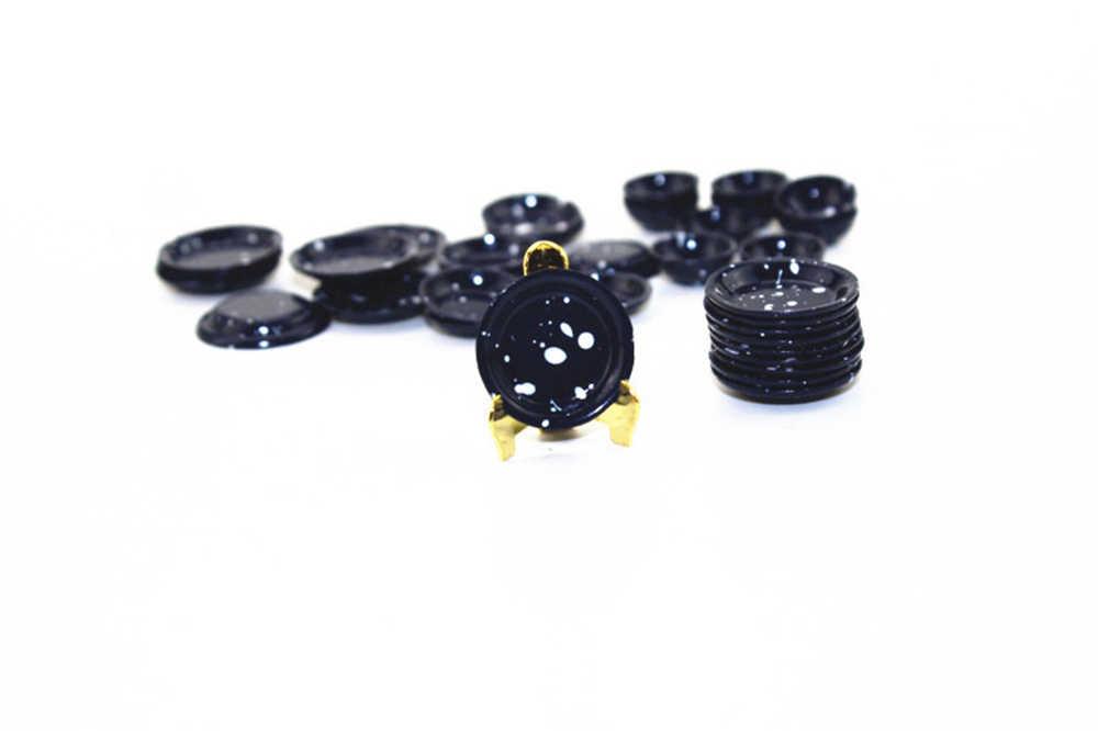 Juego de Mini plato de Metal con accesorios en miniatura para casa de muñecas 3 uds 1/12 modelo de plato de cocina de simulación juguete para decoración de casa de muñecas