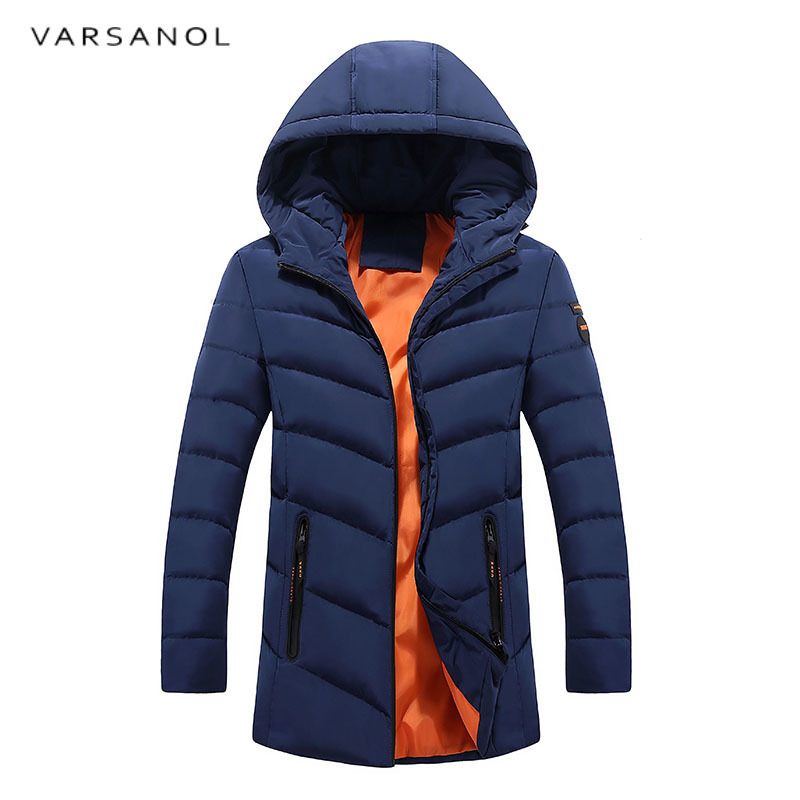 Varsanol Men Parkas 2017 New Winter Thick Jackets Hood With Zipper Pocket Long Jacket Casual Black Cotton Coat Plus Size Outwear 2016 new long winter jacket men cotton padded jackets mens winter coat men plus size xxxl