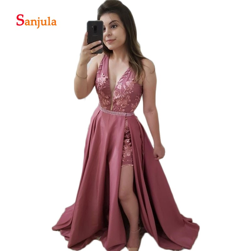 V Neck Long   Prom     Dresses   with Detachable Train Lace Sheath Skirt Beaded Waist   Dress   Formal Dinner Gowns vestidos de fiesta D546