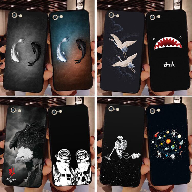 Nyaste telefonfodral för iPhone 6 7 8 6S 7 Plus X XR XS MAX Väska Fish Shark Eagle Cat Bird Soft TPU Silikon bakomslag väska