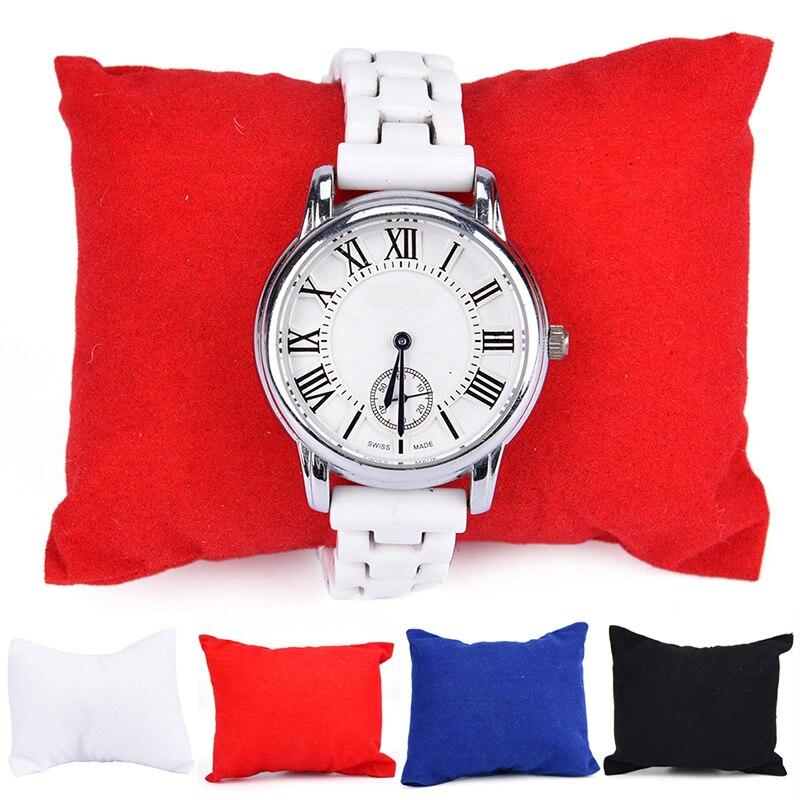 Струйное бархат кожаный браслет часы ювелирных изделий Подушка Дисплей Коробки держатель организаторы 8*9*5 см