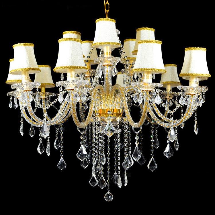 Gold Antique 15 lights crystal chandelier led lamps Europe candelabra chandeliers living room bedroom Childrens hanging light