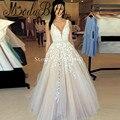 Шампанское Вечерние Платья V-образным Вырезом Longue Одеяние Де Бал Длина Пола Аппликации Арабский Dress 2017-Line Платье De Festa