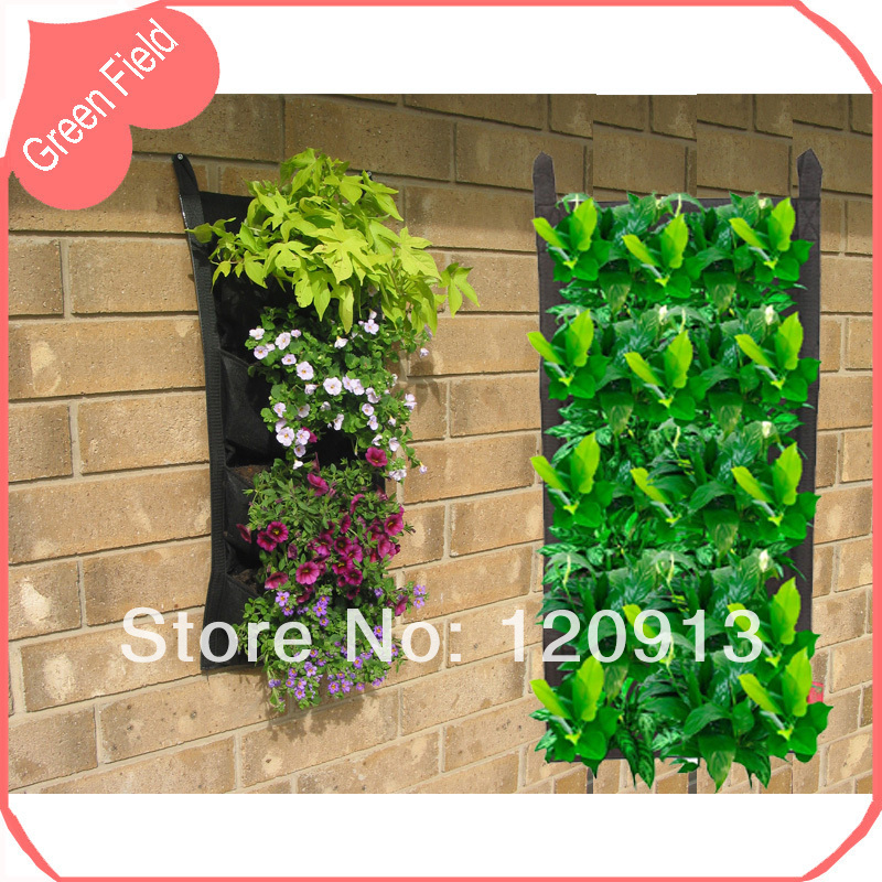 4 Pockets Vertical Garden Planter Wall Mounted Felt Flower Planting Bag Pot  Vertical Garden Planter Green Field Free Shipping In Flower Pots U0026 Planters  From ...