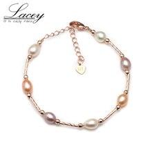 Real natural freshwater pearl strand bracelets for women,925 sterling silver bracelet girls