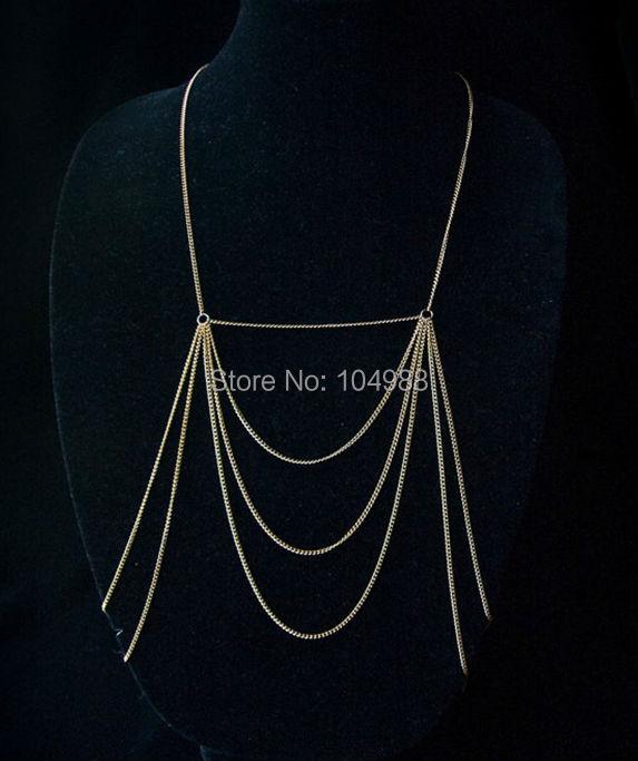 accb3bc13f9f Envío libre estilo B-81 nueva mujer oro plata metal cadena collar plata o  color oro