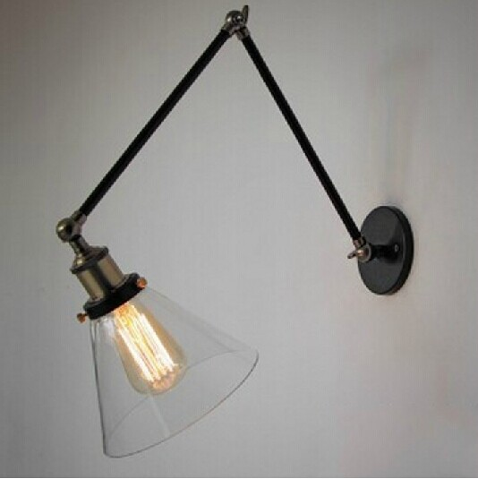 American country glass wall Loft industrial double conical retro style bedroom wall lamp wall lamp GY114 american country style industrial wall lamp retro bar bedroom pulley light fixtures stairs wall lamp