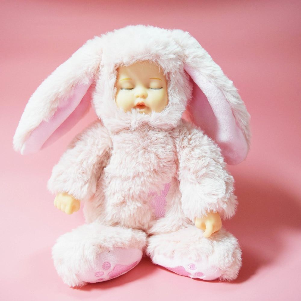 sleep bunny ! Reborn Baby Rabbit Plush Doll Beanie Toys 25CM peluche lapin Baby Dolls for Children Birthday Gift Kids cute rabbit dolls plush toys luminous love bunny dolls girls birthday gift 100cm
