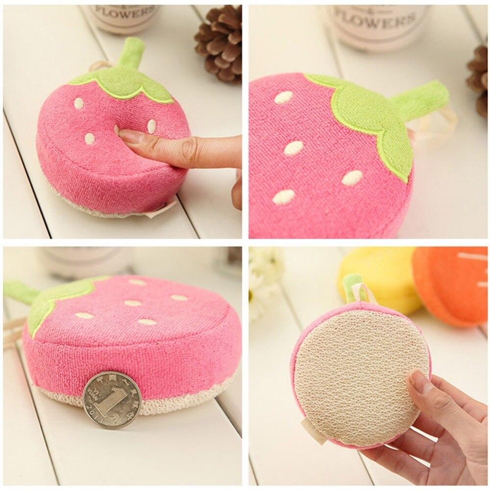 Cute Baby Fruit Bath Sponge Children Bathing Scrubber Rub Towel Cartoon Pure Cotton Bathing Ball for Baby Showering