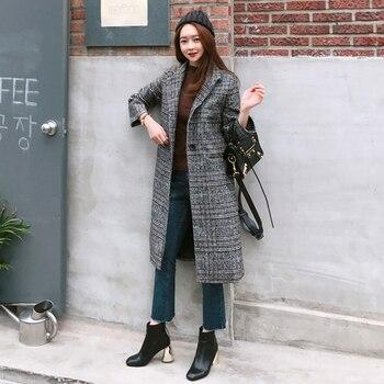2019 Spring Autumn Women's Wool  Plaid Coat New Fashion Long Woolen Coat Slim Type Female Winter Wool Jackets Female Outw 5