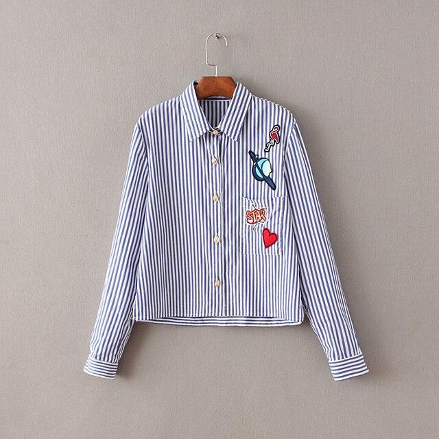 Повседневная Хлопок Блузка 2016 Женская Мода Рубашки в полоску С Длинным Рукавом короткие Рубашки синий Blusas Femininas дамы вышивка рубашки