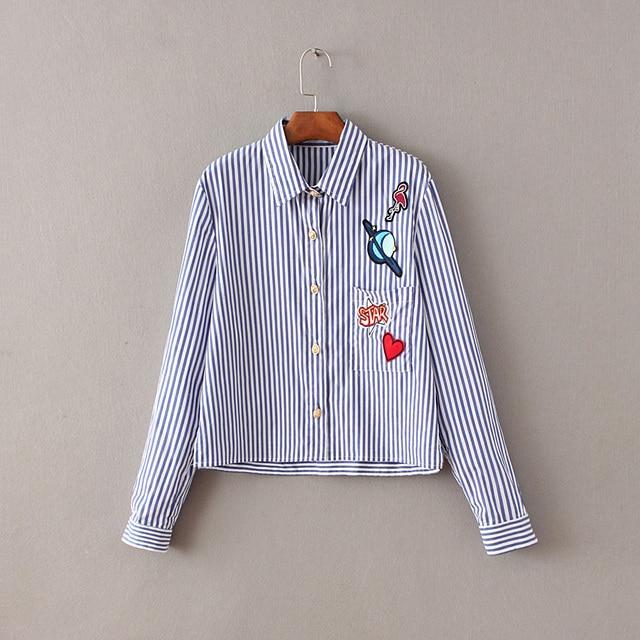 8f59d94b2d8 Повседневное хлопковая блуза 2016 Для женщин Мода Рубашки для мальчиков в  полоску с длинными рукавами короткая