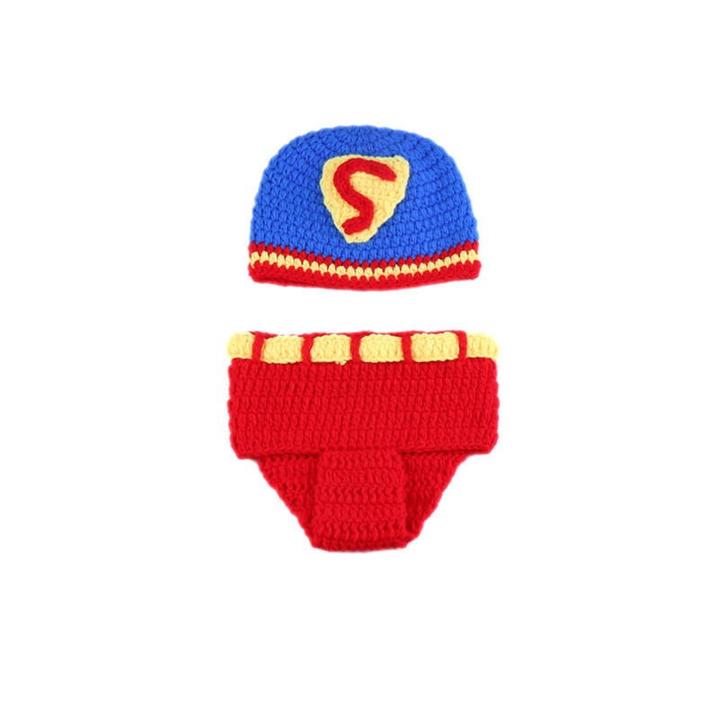 Superman Style Newborn Baby Clothes Crochet Infant  Photography Props Outfits