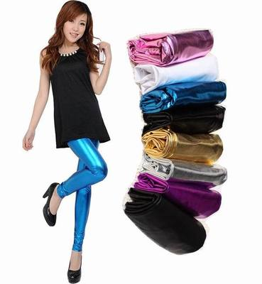 2018 Spring Women   Legging   Candy Colors Multi-Colored Bright Skin Metal Texture Bronzing Sexy Club Faux Leather   Leggings