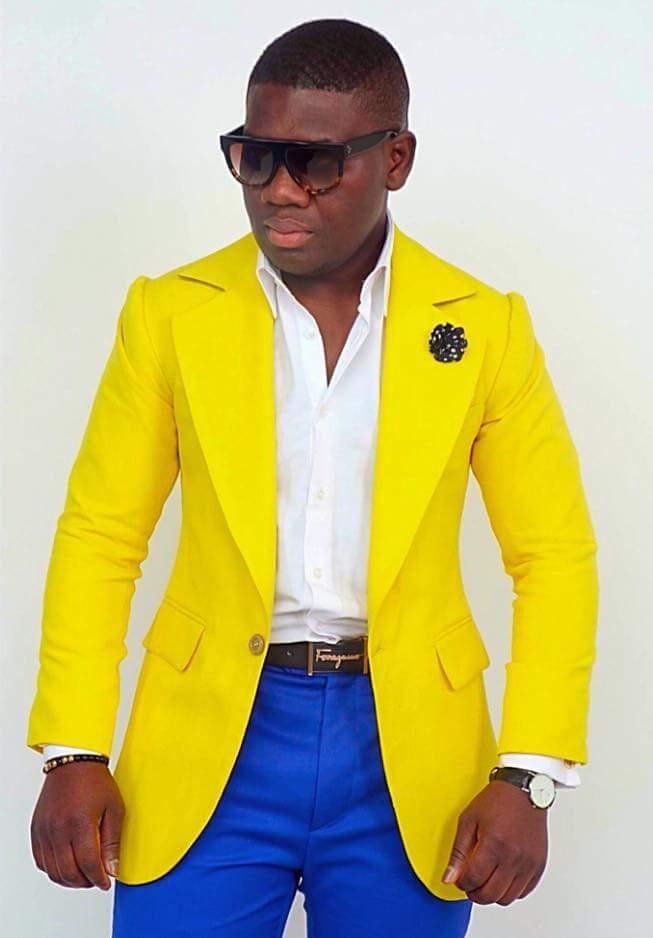 Aliexpress Buy Groomsmen Yellow Jacket Royal Blue Pants Groom Tuxedos Big Notch Lapel Men