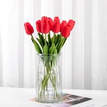 5 шт. искусственная кожа латексные тюльпаны Искусственные цветы букет Настоящее прикосновение тюльпаны искусственные Para Decora мини для дома Свадебные украшения цветок