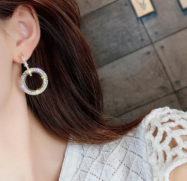 New design creative high-grade elegant crystal earrings round gold earring stud deals near me