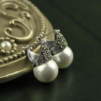 YESWOMEN トップ品質の天然シェル真珠のイヤリング 925 スターリングシルバーヴィンテージファインジュエリーのギフト